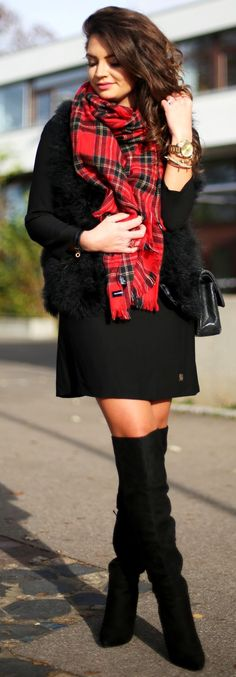 Pop Of Red On Black Fall Street Style Inspo by Fashion Hippie Loves