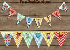 Daniel Tiger's Neighborhood birthday name banner by FunandCustom, $10.00