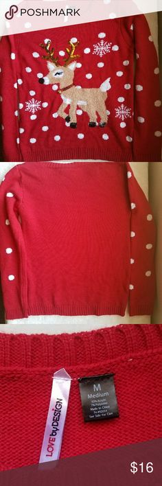 ❄ NWOT Cute Christmas Reindeer Sweater ❄ Brand New Without Tags!  Perfect for those christmas sweater parties!  Size: Medium  Could be used for either gender! Meant for Women though!  Very nice!  Message me with any questions. Thanks! Love by Design Sweaters Crew & Scoop Necks