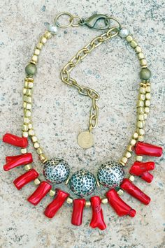 Pacific Ring of Fire: African Brass, Hammered Silver Balls & Bold Red Coral Fringe Necklace Silver Jewelry Box, Red Jewelry, Jewelry Art, Silver Ring, Jewlery, Ethnic Jewelry, Jewelry Crafts, Jewelry Ideas, Silver Earrings