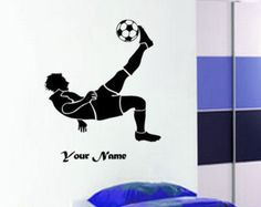 FOOTBALL Soccer Player Action with Custom name  Wall Art Sticker Decal Mural Vinyl Poster bedroom
