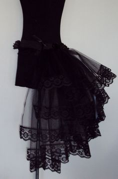 Gothic black Lace Tulle Burlesque Bustle TuTu Belt