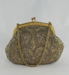 Vintage beaded bag 61 140205 BRASS#08 OR BRONZE #11 NO FRAME NEEDED IF SAME SHAPE CAN BE ACHIVED