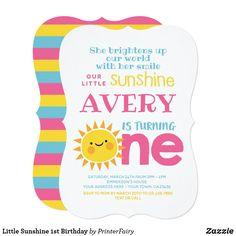 Shop Little Sunshine Birthday Invitation created by PrinterFairy. Sunshine Birthday Parties, First Birthday Parties, First Birthday Invitations, 1st Birthdays, Zazzle Invitations, Rsvp, Card Making, Cards, 1st Year Birthday