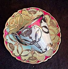 Limoges Pouyat art nouveau silver overlay demitasse cup and saucer MINT in Pottery & Glass: