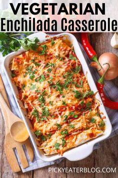 Mexican Casserole Vegetarian, Easy Vegetarian Casseroles, Vegetarian Mexican Recipes, Vegetarian Enchiladas, Vegetarian Meal Planning, Mexican Meals, Vegetarian Meals, Vegan Recipes, Tostadas