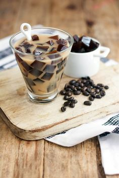 Ingredients: Serves: 2  1¾ cups room temperature black coffee/decaf/cold brew 1½ tbs gelatin dissolved in ¼ cup of cold water 1 tsp coconut sugar 1½ cups almond mi