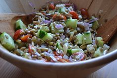 Lentil Feta Salad loaded with fresh veggies.