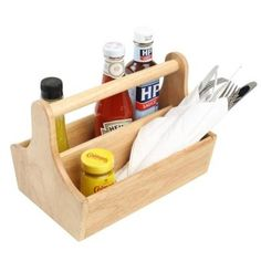 Hevea Solid Wood Condiment Holder with carry handle www.bhma.co.uk 01353 665141