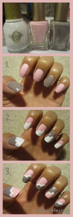 pink & gray scalloped nails!