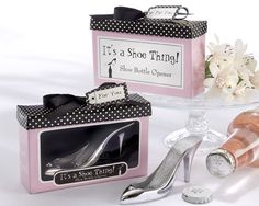These adorable High Heel Bottle Opener Favor makes great bridal shower favors, bachelorette party favors or just a cute, unique gift for a special gal friend. A trio of tiny, rhinestones adorn the top of this sexy, chrome, stiletto shoe, so stunning that bottles almost line up to be opened.