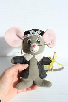 DAKIN DREAM PETS Plush Stuffed Mouse, Dakin Glad Grad, vintage plush Graduation mouse, vintage graduation gift,gift for Graduate,plush mouse by TheJellyJar on Etsy