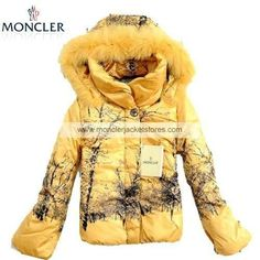 Moncler Winter Fox Fur Down Jackets For Women Yellow