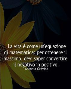 La vita è come un'equazione di matematica: per ottenere il massimo, devi saper convertire il negativo in positivo. -Antonia Gravina