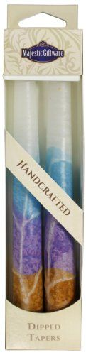 Majestic Giftware SC-SWT7-T Safed Taper Candle, 7.5-Inch, White Turquoise, 2-Pack