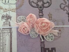 Pink Chiffon and Silver Glitter Flower Cluster Headband on Etsy, $10.50