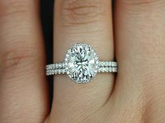 Federella Medio Size 14kt White Gold Oval FB Moissanite and Diamond Halo Classic Wedding Set (Other metals and stone options available)