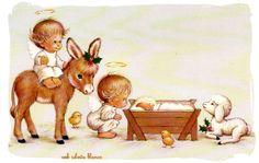 xmas card baby jesus | christmas story, angel, baby jesus, chicken, christmas, creche, donkey ...