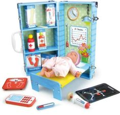 Best #holidaygift for kids who love to #playdoctor! Petitcollin folding playset with huggable baby doll, safely made in France. #www.Connectibles.net