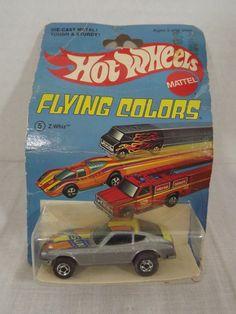 Hot Wheels Flying Colors Z WHIZ DATSUN Die Cast Metal Car in pkg 1975 by Mattel #HotWheels #Datsun