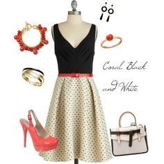 Coral, Black and White, created by lizzygirl07 on Polyvore