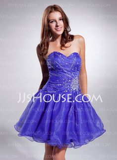 Homecoming Dresses - $129.99 - A-Line/Princess Sweetheart Short/Mini Organza Homecoming Dress With Ruffle Beading Sequins (022020925) http://jjshouse.com/A-Line-Princess-Sweetheart-Short-Mini-Organza-Homecoming-Dress-With-Ruffle-Beading-Sequins-022020925-g20925