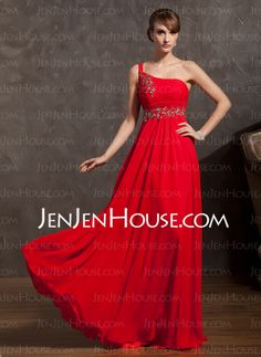 Prom Dresses - $142.99 - A-Line/Princess One-Shoulder Floor-Length Chiffon Prom Dresses With Ruffle Beading (018014844) http://jenjenhouse.com/A-Line-Princess-One-Shoulder-Floor-Length-Chiffon-Prom-Dresses-With-Ruffle-Beading-018014844-g14844