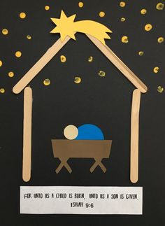 Christmas preschool craft - Baby Jesus in the manger For unto us a child is born, unto us a son is given. Isaiah 9:6