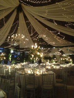 A dream ceiling. The combination of light garlands AND dreamy fabric is stunning Wedding Show, Farm Wedding, Dream Wedding, Wedding Day, Wedding Photos, Tent Decorations, Wedding Decorations, April Wedding, Greece Wedding