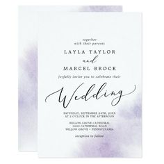 Watercolor Wash Purple Wedding Invite with a simple splash of pastel lavender purple water color with elegant and classic style. Click to customize with your personalized details today.