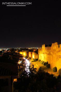 ● The Upper City (Ano Poli) of Thessaloniki by night, imposing and atmospheric ● Θεσσαλονίκη, Άνω Πόλη, με θέα τα Κάστρα ● #Thessaloniki #Byzantine #Walls