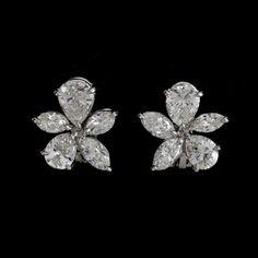 Platinum Earrings, Solitaire Earrings, Diamond Earing, Marquise Cut Diamond, Diamond Studs, Diamond Jewelry, Gold Jewelry, Solitaire Diamond, Cluster Earrings