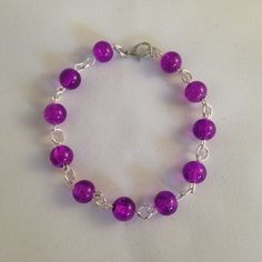 Younique inspired purple bracelet, purple crackle bead bracelet, purple bracelet, gift for her, women's bracelet, uk handmade