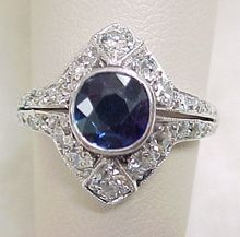 Art Deco Ring Platinum Sapphire 1.05 ct & Diamond .90 ctw at rubylane.com