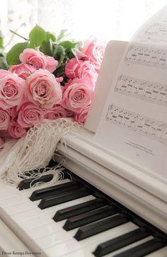 Playing piano is a joy. Piano Art, Piano Music, Music Songs, Piano Keys, Music Guitar, Music Wallpaper, Flower Wallpaper, Music Aesthetic, Pink Aesthetic