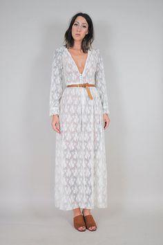 70s Vanilla lace sheer maxi dress by NOIROHIOVINTAGE on Etsy