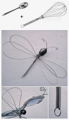 Dragonfly wire sculpture from a whisk and spoon. Dragonfly wire sculpture from a whisk and spoon. Wire Crafts, Metal Crafts, Sculptures Sur Fil, Wire Sculptures, Silverware Art, Cutlery, Sculpture Metal, Abstract Sculpture, Dragonfly Art