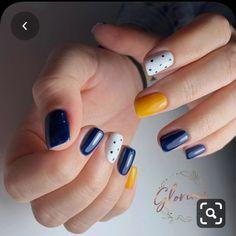 Almond Nails Pink, Blue Gel Nails, Blue And White Nails, Gel Nail Colors, Rose Gold Nails, Shellac Nails, Yellow Nails, My Nails, Fancy Nails