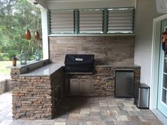 DIY BBQ Area with Louvered Privacy Walls