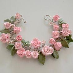 Pink Rose Bridal Charm Bracelet  Polymer Clay by beadscraftz,