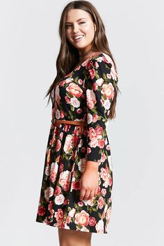 Product Name:Plus Size Floral Swing Dress, Category:plus_size-main, Price:19.9