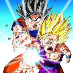 Goku and Gohan kamehameha wave together. Idea for my next DBZ tattoo