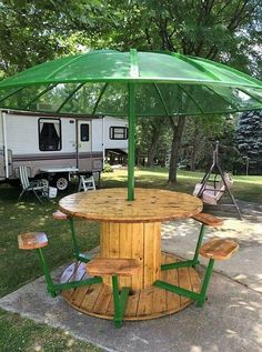 Awesome picnic table from cable spool, reclaimed wood and an old satellite dish! Awesome picnic table from cable spool, reclaimed wood and an old satellite dish! Backyard Patio, Backyard Landscaping, Wooden Spool Tables, Cable Spool Tables, Spools For Tables, Wooden Cable Spools, Wood Table, Cable Reel Table, Sewing Tables