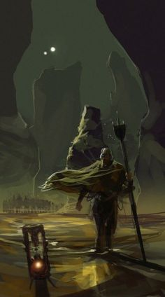 """Project Sand is an growing repository of high-quality Dune related artwork by A.J. Trahan, Sammy, Wo""""DZGN, Jordan Lamarre-Wan, and Rolf Mohr. Above is a scene by Wo""""DZGN showing a Fremen warrior summoning a sandworm."""