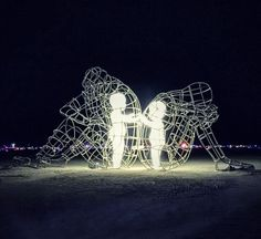 At Burning Man Photo by Emily Rosen: Two adults back to back while their inner child reach for each other. Stopped me in my tracks while biking around the playa my last night at Burning Man Guan Yu, Sculpture Burning Man, Sculpture Art, Robin Wight, Burning Man 2015, Street Art Utopia, Louise Bourgeois, Inner Child, Henri Matisse