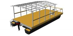 pontoon platform with mounted house framework made of aluminum or steel Cool Boats, Small Boats, Shed Plans, House Plans, Pontoon Boat Accessories, Camping Accessories, Boat Kits, Diy Boat, Bowfishing