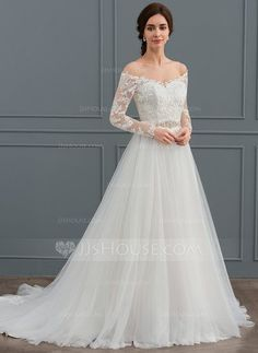 Ball-Gown Off-the-Shoulder Court Train Tulle Wedding Dress With Beading - Wedding Dresses - JJ's House Bridal Gowns, Wedding Gowns, Marquise, Tulle Wedding, Nice Dresses, Ball Gowns, Mermaid Dress Wedding, Sleek Wedding Dress, Wedding Dress Train