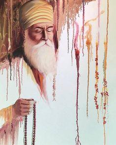 """In this dark age, he showed all gods to be just one."" Bhai Gurdas ~ beautiful Guru Nanak Dev ji inspired painting by Dhan Guru Nanak! — with Sameer Rao. Guru Granth Sahib Quotes, Sri Guru Granth Sahib, Guru Nanak Ji, Nanak Dev Ji, Religious Paintings, Religious Art, Sikhism Religion, Baba Deep Singh Ji, Guru Nanak Wallpaper"