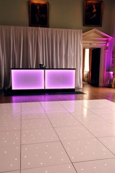 Kirtlington Park Oxon - White starlit dance floor, white backdrop drape, illuminated bar units and wall uplighters by www.stressfreehire.com #venuetransformers