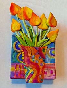 a Mused Studio: Polymer Clay on Canvas- Tulips